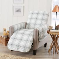 Great Bay Home Plaid Recliner Protector in Grey