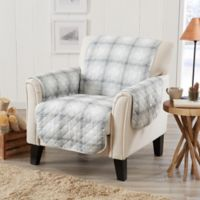Great Bay Home Plaid Chair Protector in Grey