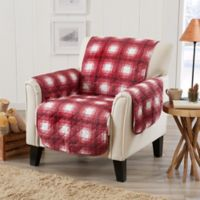 Great Bay Home Plaid Chair Protector in Red