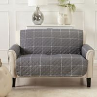 Great Bay Home Window Pane Loveseat Protector in Grey