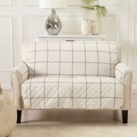 Great Bay Home Window Pane Loveseat Protector in Ivory