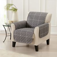 Great Bay Home Window Pane Chair Protector in Grey