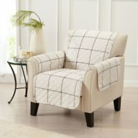 Great Bay Home Window Pane Chair Protector in Ivory