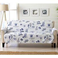 Great Bay Home Coastal Sofa Protector in Navy/White