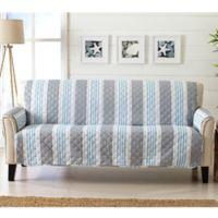 Great Bay Home Coastal Sofa Protector in Grey/Light Blue