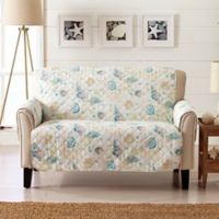 Great Bay Home Coastal Loveseat Protector in Beige/Coral