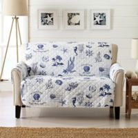 Great Bay Home Coastal Loveseat Protector in Navy/White