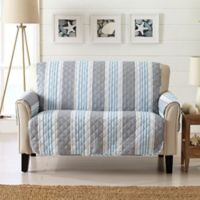 Great Bay Home Coastal Loveseat Protector in Grey/Light Blue