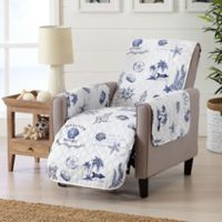 Great Bay Home Coastal Recliner Protector in Navy/White