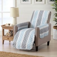 Great Bay Home Coastal Recliner Protector in Grey/Light Blue