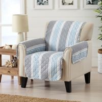 Great Bay Home Coastal Wing Chair Protector in Grey/Light Blue