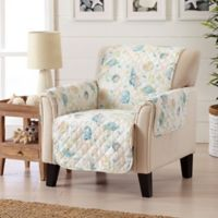 Great Bay Home Coastal Wing Chair Protector in Beige/Coral