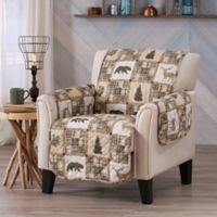 Great Bay Home Coastal Wing Chair Protector in Tan/Beige