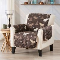 Great Bay Home Lodge Wing Chair Protector in Chocolate
