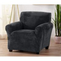 Great Bay Home Camellia Velvet Stretch Wing Chair Slipcover in Steel Grey