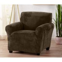 Great Bay Home Camellia Velvet Stretch Wing Chair Slipcover in Chocolate