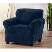 Great Bay Home Camellia Velvet Stretch Wing Chair Slipcover in Navy