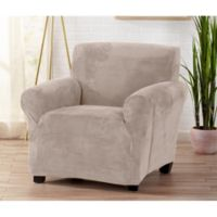 Great Bay Home Camellia Velvet Stretch Wing Chair Slipcover in Off-White