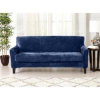 Great Bay Home Sorrento Velvet 2-Piece Sofa Slipcover in Navy