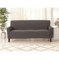 Great Bay Home Jacquard Geometric Strapless Sofa Slipcover in Grey