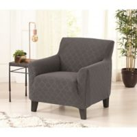 Great Bay home Jacwuard Geometric Strapless Chair Slipcover in Grey