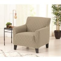 Great Bay home Jacwuard Geometric Strapless Chair Slipcover in Silver Cloud