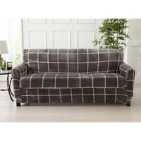 Great Bay Home Sorrento Printed Velvet 2-Piece Sofa Slipcover in Frost Grey