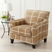 Great Bay Home Sorrento Printed Velvet 2-Piece Wing Chair Slipcover in Sand