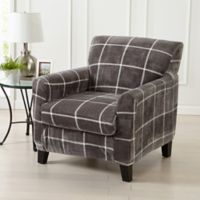 Great Bay Home Sorrento Printed Velvet 2-Piece Wing Chair Slipcover in Frost Grey