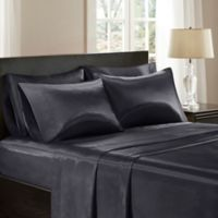 Madison Park Essentials Wrinkle Free Satin King Pillowcases in Black (Set of 2)