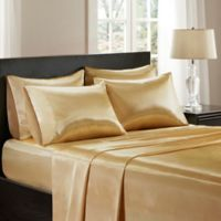 Madison Park Essentials Wrinkle Free Satin King Pillowcases in Gold (Set of 2)