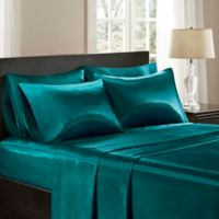 Madison Park Essentials Wrinkle Free Satin King Pillowcases in Teal (Set of 2)