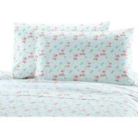 Seaside Resort Flamingo Print Queen Sheet Set in Pink