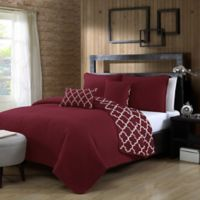 Avondale Manor Griffin Reversible King Quilt Set in Burgundy