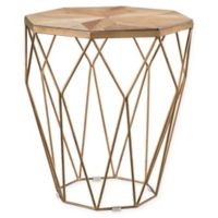 Southern Enterprises© Stellan Reclaimed Wood End Table in Natural with Gold