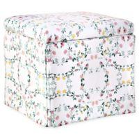 Skyline Furniture Nottingham Storage Ottoman in White Floral