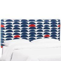 Skyline Furniture Trendy Full Upholstered Headboard in Blue/Red