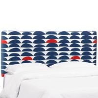 Skyline Furniture Trendy King Upholstered Headboard in Blue/Red