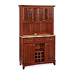 Home Styles Natural Wood Top Large Buffet/Server with Hutch in Cherry
