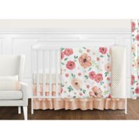Sweet Jojo Designs Watercolor Floral 11-Piece Crib Bedding Set in Coral/White