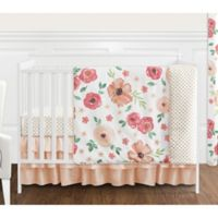 Sweet Jojo Designs® Watercolor Floral 4-Piece Crib Bedding Set in Peach/Green