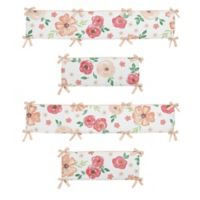 Sweet Jojo Designs Watercolor Floral 4-Piece Crib Bumper Set