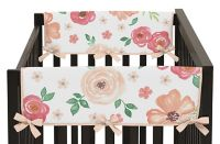 Sweet Jojo Designs Watercolor Floral Short Crib Rail Guard Covers (Set of 2)