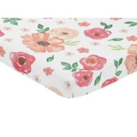 Sweet Jojo Designs Watercolor Floral Mini Fitted Crib Sheet in Coral/White