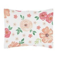 Sweet Jojo Designs Watercolor Floral Standard Pillow Sham in Coral/Green