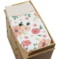 Sweet Jojo Designs Watercolor Floral Changing Pad Cover in Coral/Green