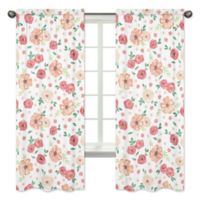 Sweet Jojo Designs Watercolor Floral 84-Inch Window Curtain Panels (Set of 2)