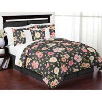 Sweet Jojo Designs® Watercolor Floral Full/Queen Comforter Set in Black/Pink