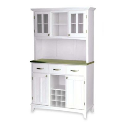 Home Styles Stainless Steel Top Large Buffet/Server With Hutch In White