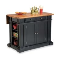 Home Styles Kitchen Island with Distressed Oak Top in Black